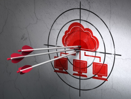 Success cloud computing concept: arrows hitting the center of Red Cloud Network target on wall background, 3d render photo
