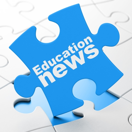 brainteaser: News concept: Education News on Blue puzzle pieces background, 3d render Stock Photo