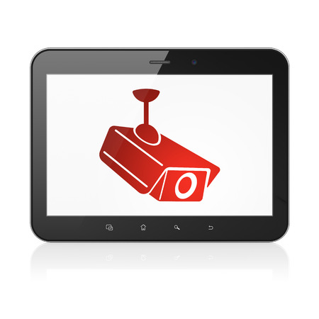 Security concept: black tablet pc computer with Cctv Camera icon on display. Modern portable touch pad on White background, 3d render photo