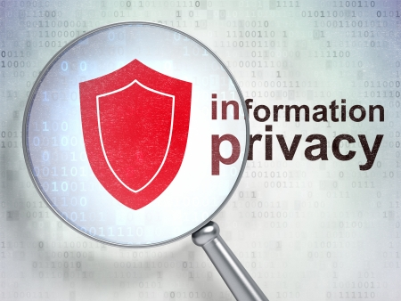 Protection concept: magnifying optical glass with Shield icon and Information Privacy word on digital background, 3d render Archivio Fotografico