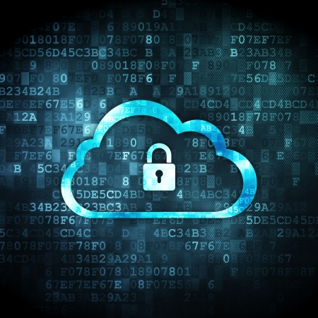 Cloud networking concept: pixelated Cloud With Padlock icon on digital background, 3d render