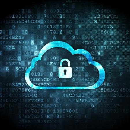 Nube concepto de red: pixelada nube con el icono del candado en el fondo digital, 3d