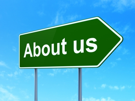 Advertising concept: About Us on green road (highway) sign, clear blue sky background, 3d render photo