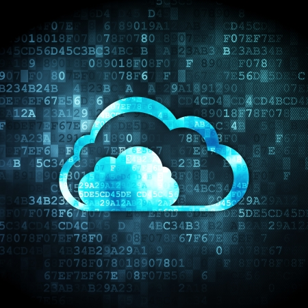 Cloud computing concept: pixelated Cloud icon on digital background, 3d render photo