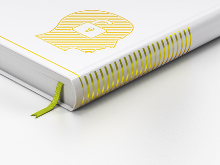 Finance concept: closed book with Gold Head With Padlock icon on floor, white background, 3d render photo