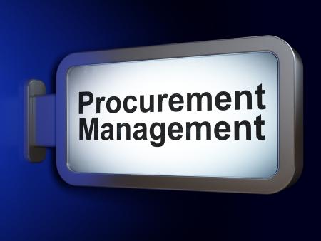 Business concept: Procurement Management on advertising billboard background, 3d render photo