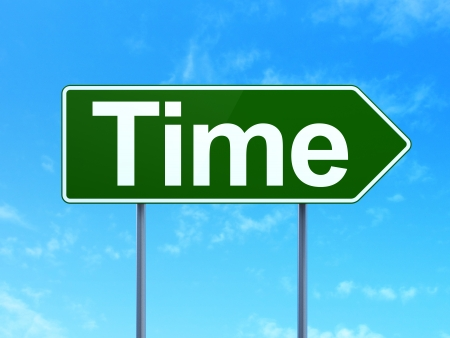 Timeline concept: Time on green road (highway) sign, clear blue sky background, 3d render photo