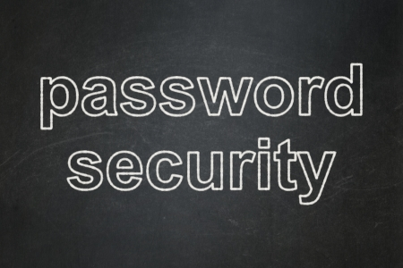 Privacy concept: text Password Security on Black chalkboard background, 3d render photo