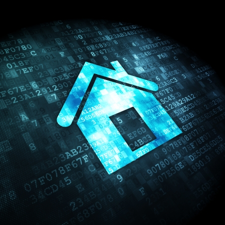 Business concept: pixelated Home icon on digital background, 3d render photo