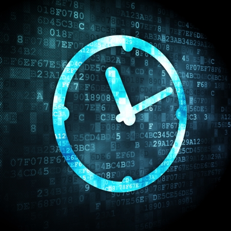 Time concept: pixelated Clock icon on digital background, 3d render