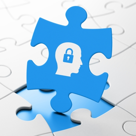 Finance concept: Head With Padlock on Blue puzzle pieces background, 3d render photo