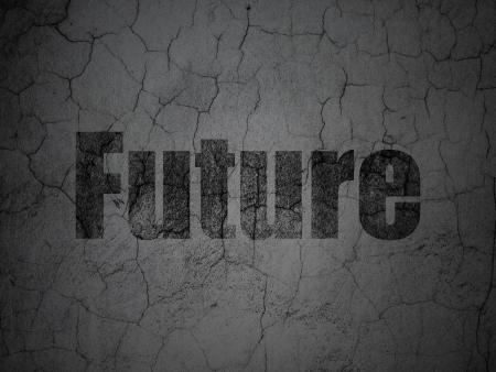 Timeline concept: Black Future on grunge textured concrete wall background, 3d render photo