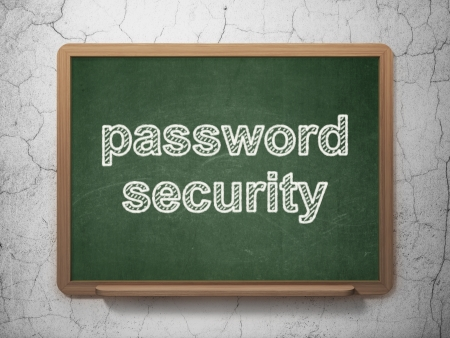 Privacy concept: text Password Security on Green chalkboard on grunge wall background, 3d render photo