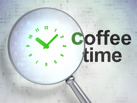Time concept: magnifying optical glass with Clock icon and Coffee Time word on digital background, 3d render Stock Photo - 25296197