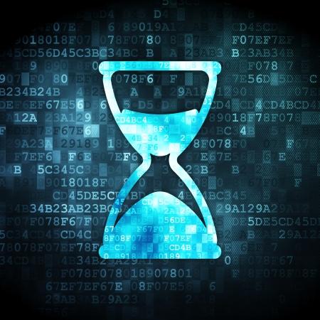 cronologia: Concepto del tiempo: pixelada icono de reloj de arena en el fondo digital, 3d