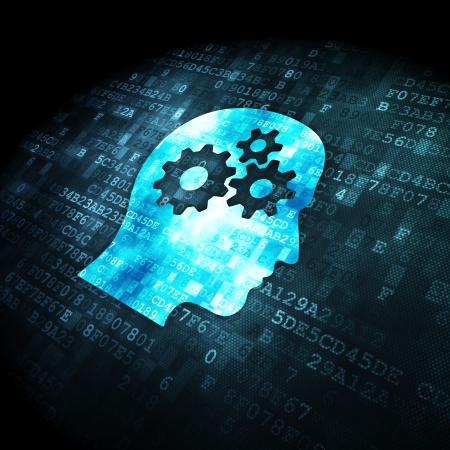 digital background: Information concept: pixelated Head With Gears icon on digital background, 3d render