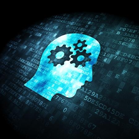 Informationskonzept: verpixelt Kopf mit Gängen Symbol auf digitale Hintergrund, 3d render