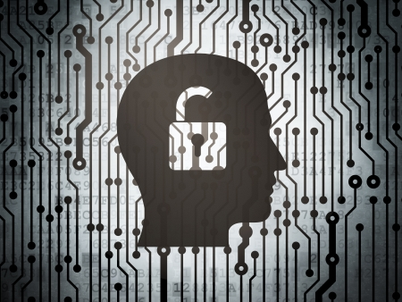 buisnes: Business concept: circuit board with  Head With Padlock icon, 3d render Stock Photo
