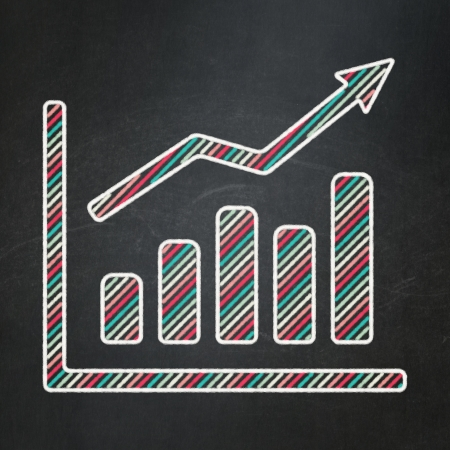 News concept: Growth Graph icon on Black chalkboard background, 3d render photo