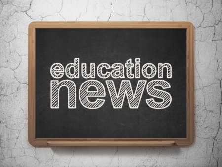 News concept: text Education News on Black chalkboard on grunge wall background, 3d render photo