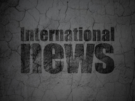 News concept: Black International News on grunge textured concrete wall background, 3d render photo