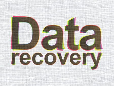 data recovery: Information concept: CMYK Data Recovery on linen fabric texture background, 3d render