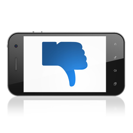 Social media concept: smartphone with Thumb Down icon on display. Mobile smart phone on White background, cell phone 3d render photo