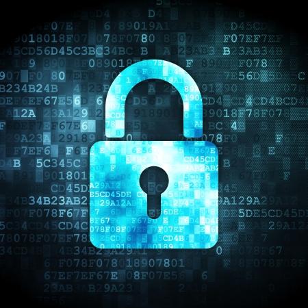lock symbol: Data concept: pixelated Closed Padlock icon on digital background, 3d render