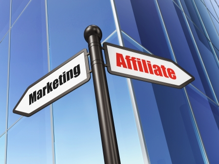 Business concept: sign Affiliate Marketing on Building background, 3d render photo