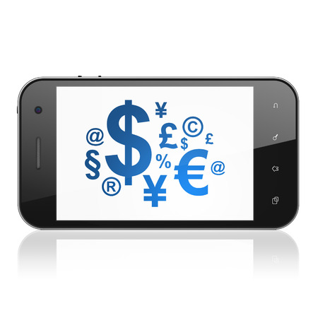 News concept: smartphone with Finance Symbol icon on display. Mobile smart phone on White background, cell phone 3d render photo