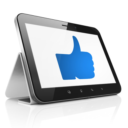 Social network concept: black tablet pc computer with Thumb Up icon on display. Modern portable touch pad on White background, 3d render photo