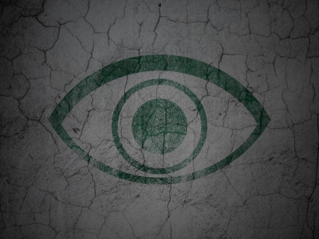 eye green: Concepto de seguridad: Ojo verde en el grunge de fondo con textura de la pared de concreto, 3d Foto de archivo