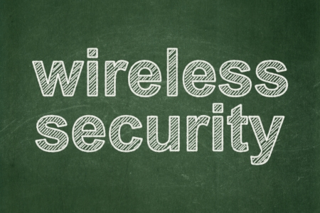 Safety concept: text Wireless Security on Green chalkboard background, 3d render photo