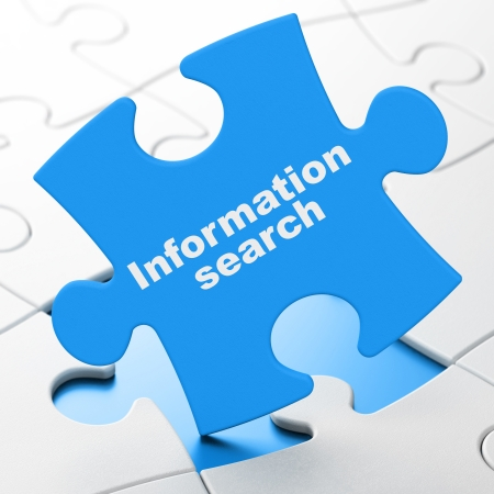 Information concept: Information Search on Blue puzzle pieces background, 3d render photo