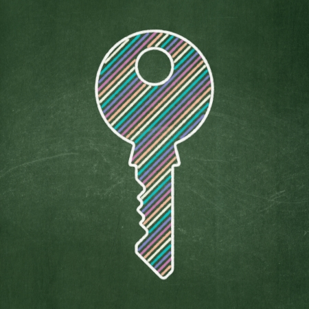 Privacy concept: Key icon on Green chalkboard background, 3d render photo