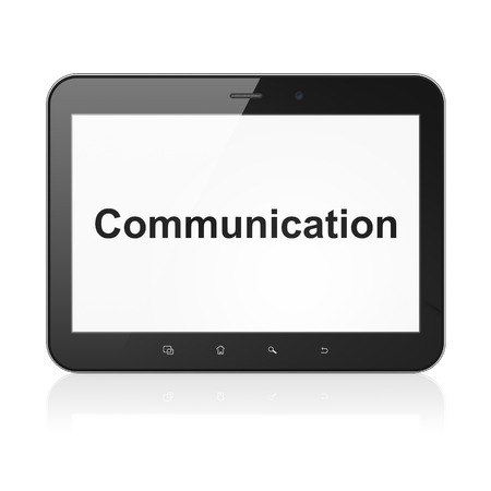 Marketing concept: black tablet pc computer with text Communication on display. Modern portable touch pad on White background, 3d render photo