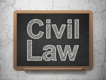 Law concept: text Civil Law on Black chalkboard on grunge wall background, 3d render photo