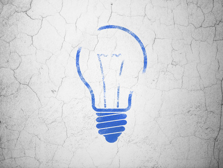 Business concept: Blue Light Bulb on textured concrete wall background, 3d render photo