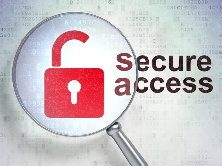 Security concept: magnifying optical glass with Opened Padlock icon and Secure Access word on digital background, 3d render photo
