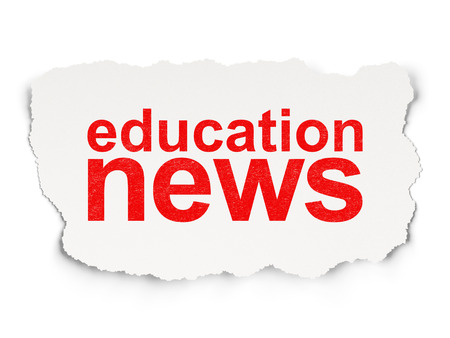 News concept: torn paper with words Education News on Paper background, 3d render photo