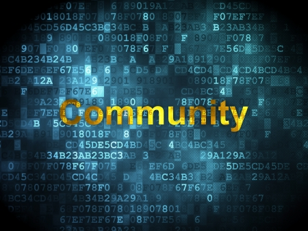 Social network concept: pixelated words Community on digital background, 3d render photo