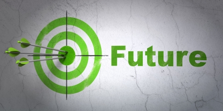 Success timeline concept: arrows hitting the center of target, Green Future on wall background, 3d render photo