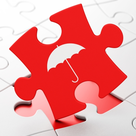 Protection concept: Umbrella on Red puzzle pieces background, 3d render photo