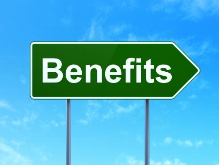 buisnes: Finance concept: Benefits on green road (highway) sign, clear blue sky background, 3d render