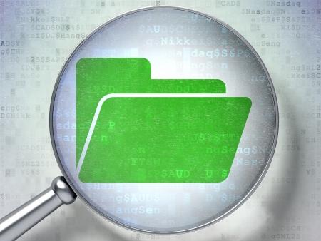 document management: Concepto de negocio: la lupa óptica con el icono de la carpeta en el fondo digital, 3d