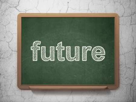 Time concept: text Future on Green chalkboard on grunge wall background, 3d render photo