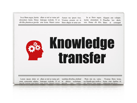 Education concept: newspaper headline Knowledge Transfer and Head With Gears icon on White background, 3d render photo