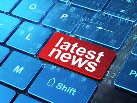 ニュース概念: に関する最新のニュース、入力された単語をコンピューターのキーボード ボタンの背景、3 d のレンダリング