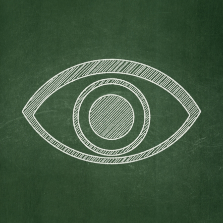 Privacy concept: Eye icon on Green chalkboard background, 3d render photo