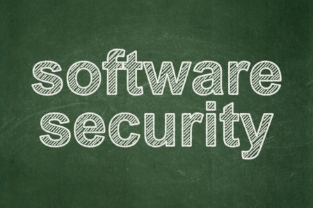 Safety concept: text Software Security on Green chalkboard background, 3d render photo